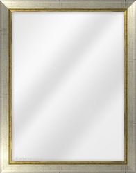 Framed Mirror made from a 31mm wide moulding, flat shaped, and silver (with a gold inner edge) in colour.