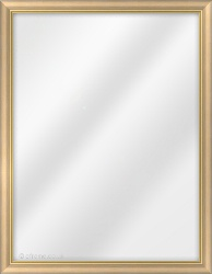 Framed Mirror made from a 21mm wide moulding, spoon shaped, and light wood (with 2 gold lines on inner edge) in colour.