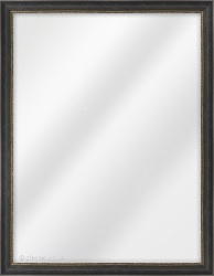 Framed Mirror made from a 21mm wide moulding, spoon shaped, and matt black (with 2 gold lines on inner edge) in colour.