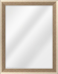 Framed Mirror made from a 34mm wide moulding, cushion shaped, and silver/bronze in colour.