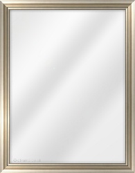 Framed Mirror made from a 25mm wide moulding, cushion shaped, and silver in colour.