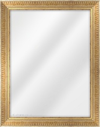 Framed Mirror made from a 38mm wide moulding, spoon shaped, and pale gold in colour.