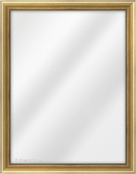 Framed Mirror made from a 28mm wide moulding, spoon shaped, and gold (grey line on inner edge) in colour.