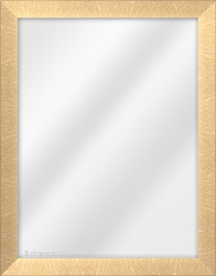 Framed Mirror made from a 30mm wide moulding, flat shaped, and brass in colour.