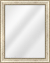 Framed Mirror made from a 37mm wide moulding, spoon shaped, and champagne silver/fleck in colour.