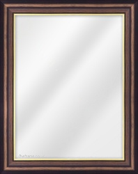 Framed Mirror made from a 42mm wide moulding, scoop shaped, and walnut (with a gold inner edge) in colour.