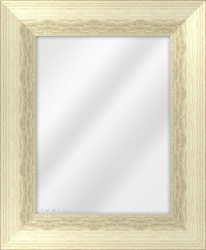 Framed Mirror made from a 82mm wide moulding, reverse shaped, and ivory in colour.