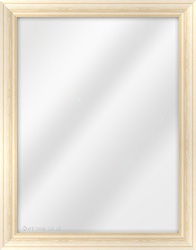 Framed Mirror made from a 32mm wide moulding, cushion shaped, and tan/whitewash in colour.