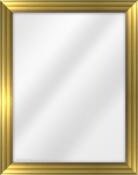 Framed Mirror made from a 34mm wide moulding, reverse shaped, and gold in colour.