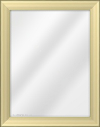 Framed Mirror made from a 38mm wide moulding, cushion shaped, and gold in colour.