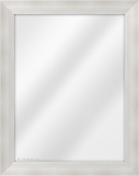 Framed Mirror made from a 38mm wide moulding, cushion shaped, and silver in colour.