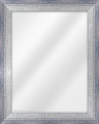 Framed Mirror made from a 45mm wide moulding, flat shaped, and blue/silver in colour.