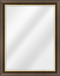 Framed Mirror made from a 34mm wide moulding, spoon shaped, and walnut (with a gold inner edge) in colour.