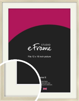 Flat Champagne Silver Picture Frame & Mount, 12x16