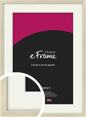 Flat Champagne Silver Picture Frame & Mount, 20x30cm (8x12