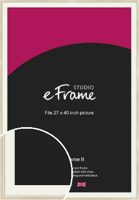 Flat Champagne Silver Picture Frame & Mount, 27x40