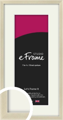 Flat Champagne Silver Picture Frame & Mount, 4x10