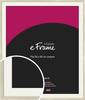 Flat Champagne Silver Picture Frame & Mount, 50x60cm (VRMP-A029-M-50x60cm)