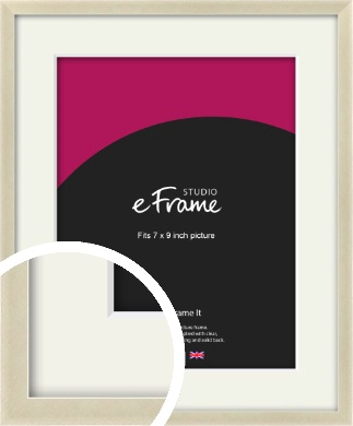 Flat Champagne Silver Picture Frame & Mount, 7x9