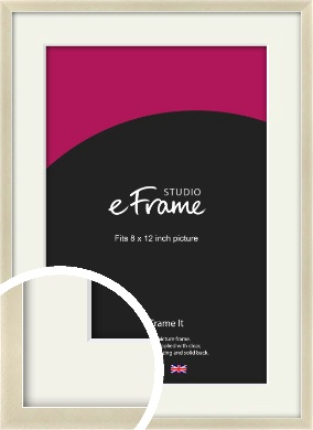 Flat Champagne Silver Picture Frame & Mount, 8x12