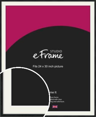 Sharp Line Black Picture Frame & Mount, 24x30