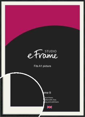 Sharp Line Black Picture Frame & Mount, A1 (594x841mm) (VRMP-A031-M-A1)