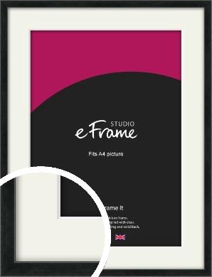 Sharp Line Black Picture Frame & Mount, A4 (210x297mm) (VRMP-A031-M-A4)