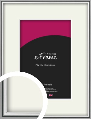 Polished Chrome Effect Silver Picture Frame & Mount, 10x15cm (4x6