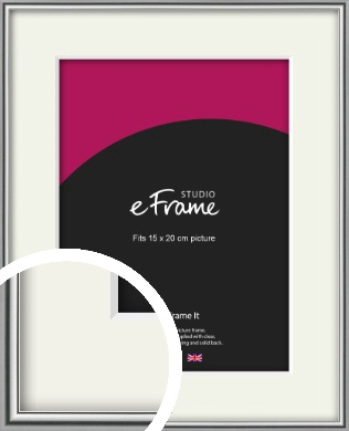 Polished Chrome Effect Silver Picture Frame & Mount, 15x20cm (6x8