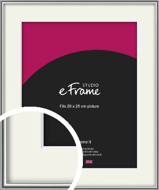 Polished Chrome Effect Silver Picture Frame & Mount, 20x25cm (8x10