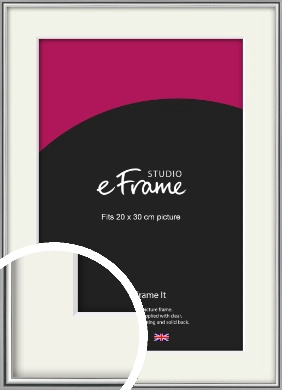 Polished Chrome Effect Silver Picture Frame & Mount, 20x30cm (8x12