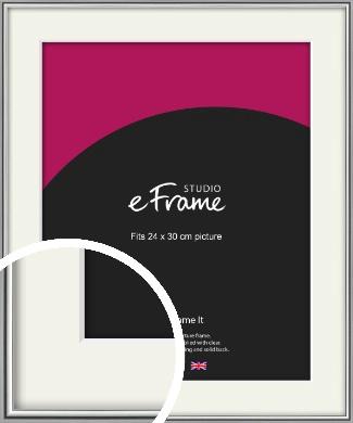 Polished Chrome Effect Silver Picture Frame & Mount, 24x30cm (VRMP-A034-M-24x30cm)