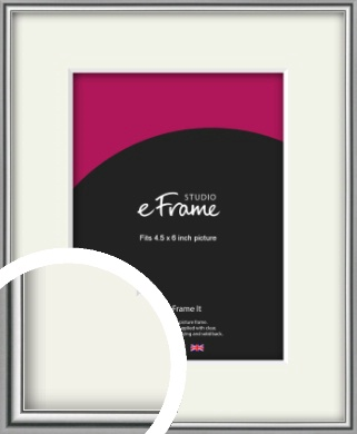 Polished Chrome Effect Silver Picture Frame & Mount, 4.5x6