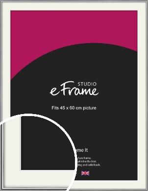 Polished Chrome Effect Silver Picture Frame & Mount, 45x60cm (VRMP-A034-M-45x60cm)