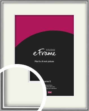 Polished Chrome Effect Silver Picture Frame & Mount, 6x8