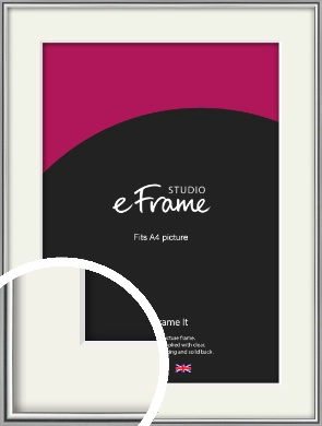 Polished Chrome Effect Silver Picture Frame & Mount, A4 (210x297mm) (VRMP-A034-M-A4)