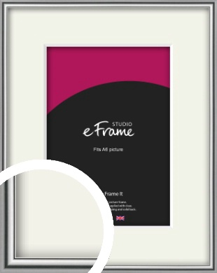 Polished Chrome Effect Silver Picture Frame & Mount, A6 (105x148mm) (VRMP-A034-M-A6)