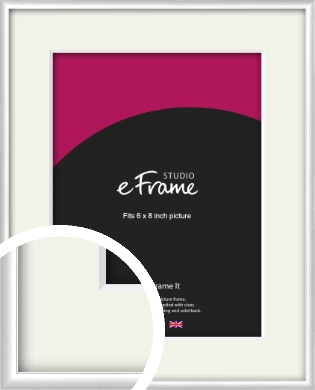Contemporary Silver Picture Frame & Mount, 6x8