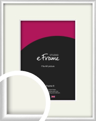 Contemporary Silver Picture Frame & Mount, A6 (105x148mm) (VRMP-A035-M-A6)
