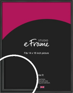 Modern Curved Black Picture Frame, 14x18