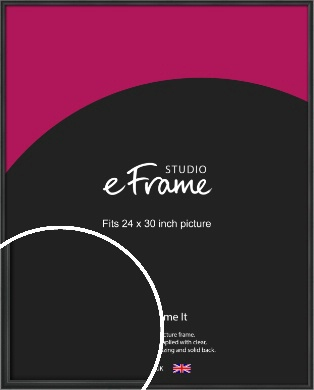 Modern Curved Black Picture Frame, 24x30