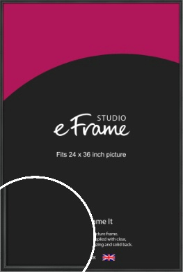 Modern Curved Black Picture Frame, 24x36