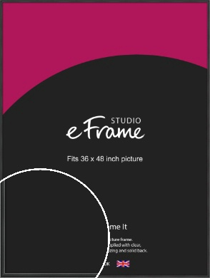 Modern Curved Black Picture Frame, 36x48
