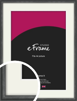 Brushed Curved Black Picture Frame & Mount, A4 (210x297mm) (VRMP-A006-M-A4)