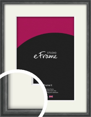 Brushed Curved Black Picture Frame & Mount (VRMP-A006-M)