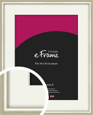Brushed Champagne Gold & Silver Picture Frame & Mount, 18x24cm (VRMP-A008-M-18x24cm)