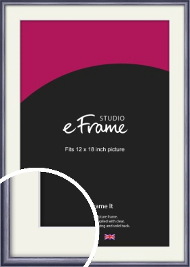 Brushed Muave Purple Picture Frame & Mount, 12x18