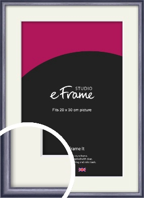 Brushed Muave Purple Picture Frame & Mount, 20x30cm (8x12