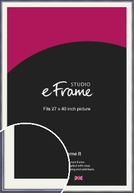 Brushed Muave Purple Picture Frame & Mount, 27x40