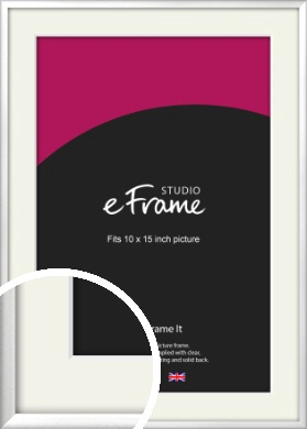 Frosted Chrome Silver Picture Frame & Mount, 10x15